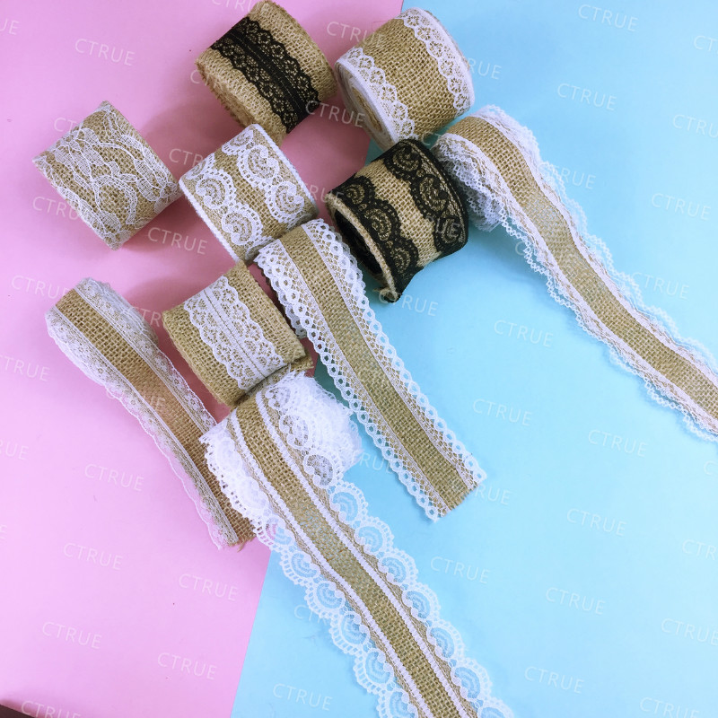 10m Natural Jute Burlap Hessian Ribbon Roll Black White Lace Vintage Wedding Decoration Party Christmas Crafts