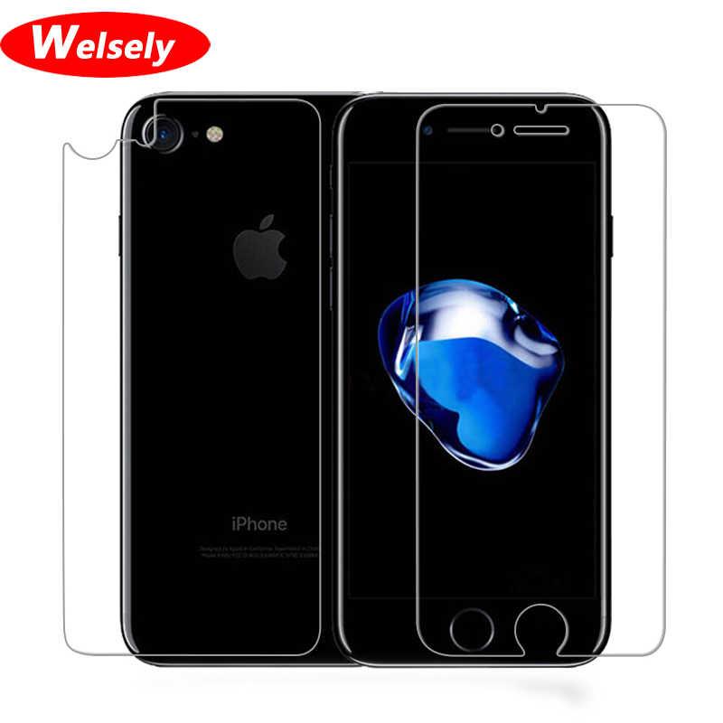 Welselyクリアフロントスクリーンプロテクター裏表紙保護petフィルムシールド用iphone 8 7 8プラスecran携帯電話アクセサリー