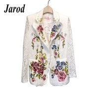 High quality Luxury Designer Runway Jackets Coats 2018 Summer Women's Fashion Flowers Embroidery Jacket Outerwear