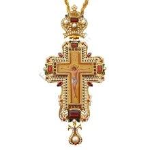 Ювелирное ожерелье с крестиком цирконы кристаллы христианская церковь Золотой жрец распятие ортодоксальный подарок на крестины религиозные иконы