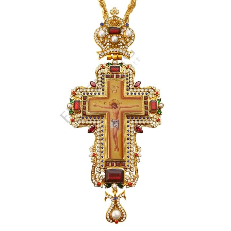 Bijoux croix pectorale collier Zircons cristaux église chrétienne prêtre d'or Crucifix orthodoxe baptême cadeau icônes religieuses