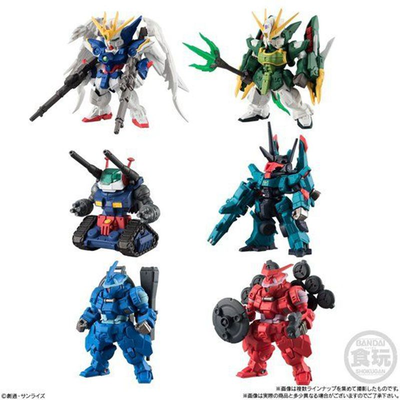 WSTXBD Original BANDAI 6Pcs/Set Q Version FW Gundam Converge#11 PVC Figure Toys Figurals Model Kids Dolls Brinquedos rocooart k2 water transfer nail art sticker chinese ink rose flowers christmas nail wraps sticker manicure decor decals foils