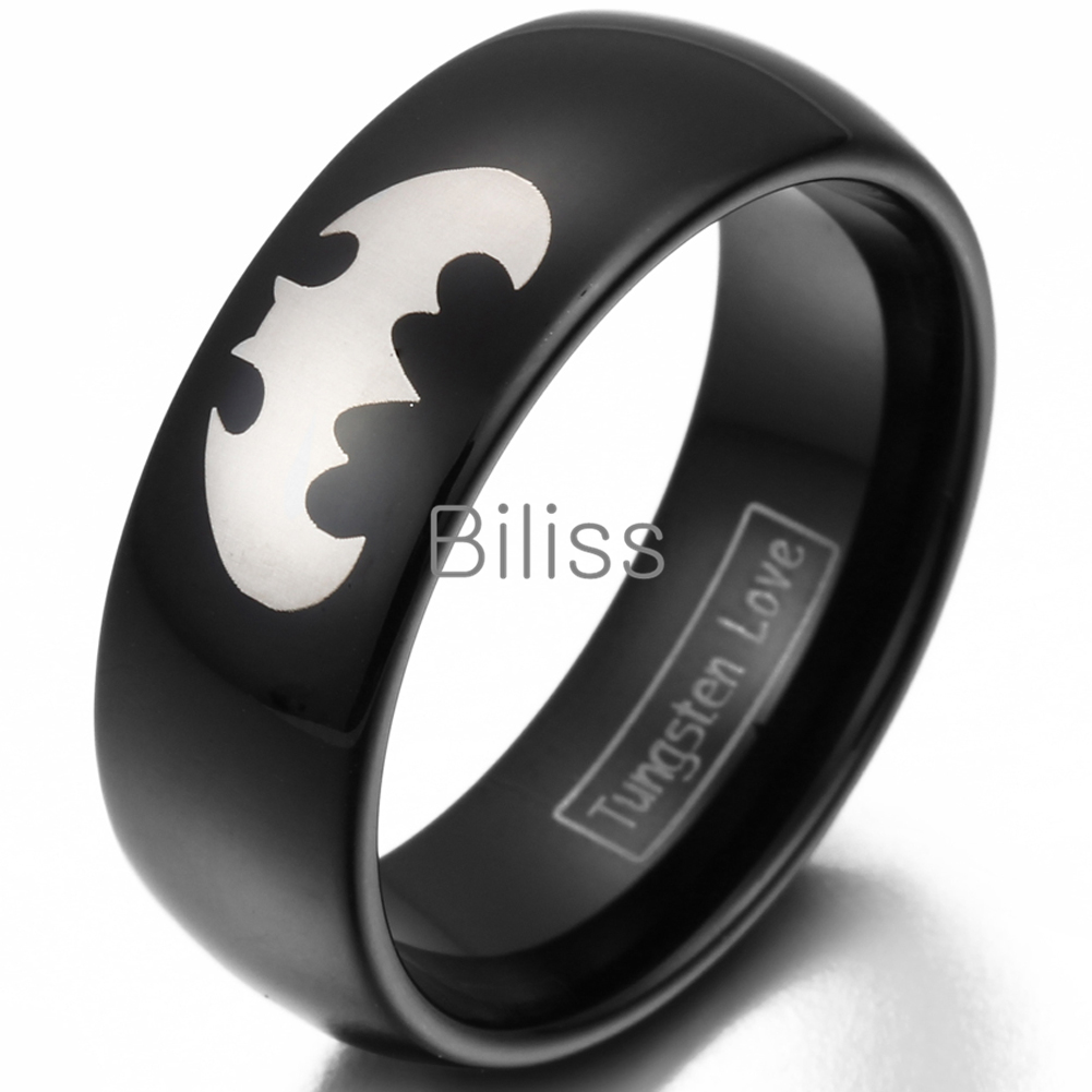 Hot 6 8mm Black Tungsten Laser Etched Batman Promise Rings