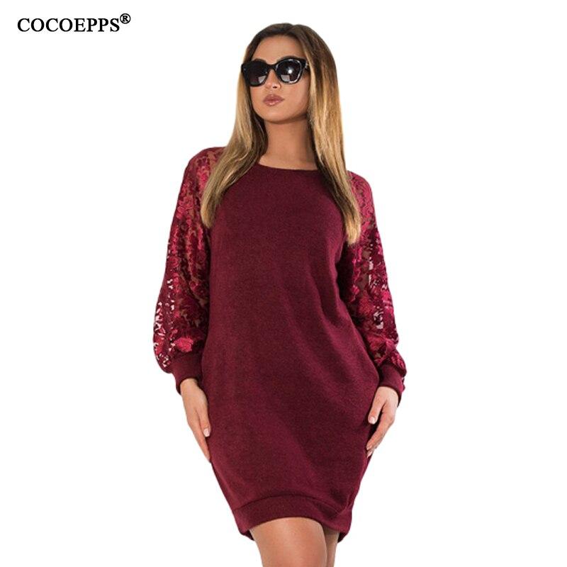 COCOEPPS Langen ärmeln Spitze Herbst Kleid big size 2018 neue frauen Winter Plus Größe büro grünen kleid vintage vestidos L-6XL