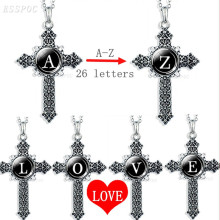Cross Necklace 26 Letters Custom Name Pendant Stainless Steel Chain Religious Jewelry Christian Corss Gifts