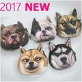 2017 Nova Bolsa Da Moeda Da Carteira Pugo Cabeça de Cão de Impressão 3D Animal Pequeno fresco bolsa da mudança skids' criativo Presente de Natal ~ 2