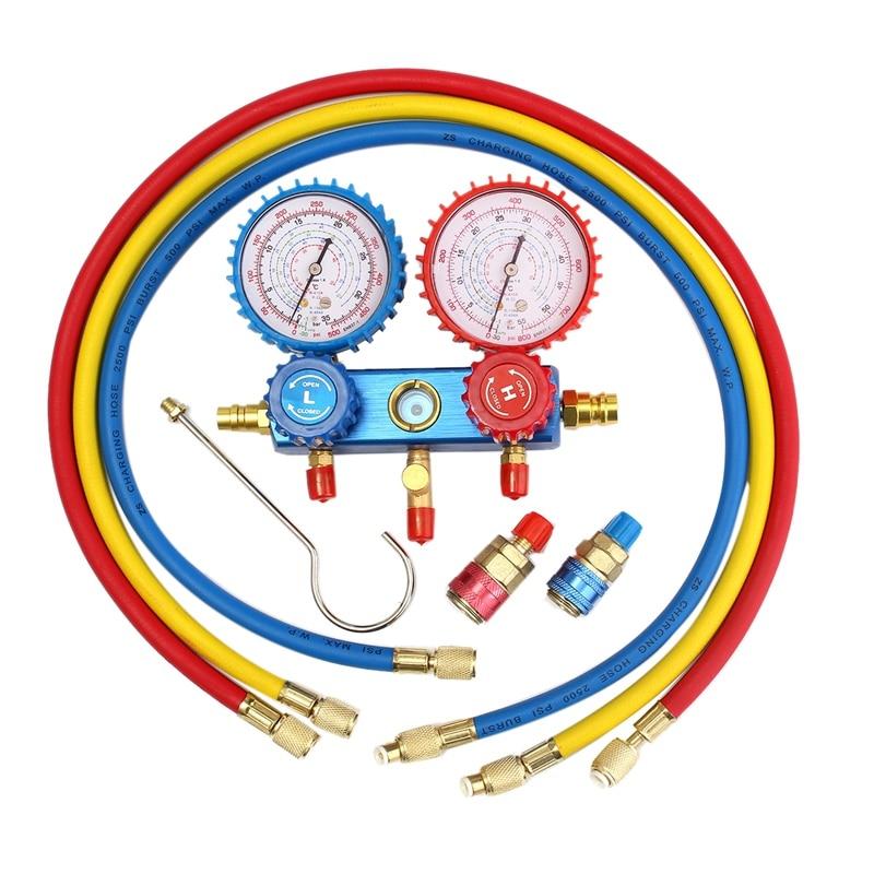 TOP Auto jauge de collecteur Set A/C R134A réfrigérant tuyau de charge avec 2 coupleur rapide pour R134A climatisation réfrigération