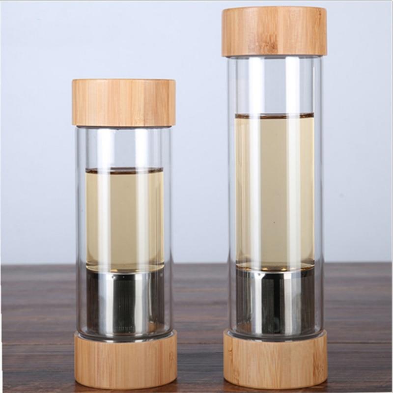 300 Ml 400 Ml Glas Wasser Flaschen Mit Tee Infuser Shaker Doppel