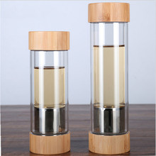 300ml 400ml Glass Water Bottles With Tea Infuser Shaker Double Wall Tea Drink Bottled For Water Two Mouths Bamboo Lid(China)
