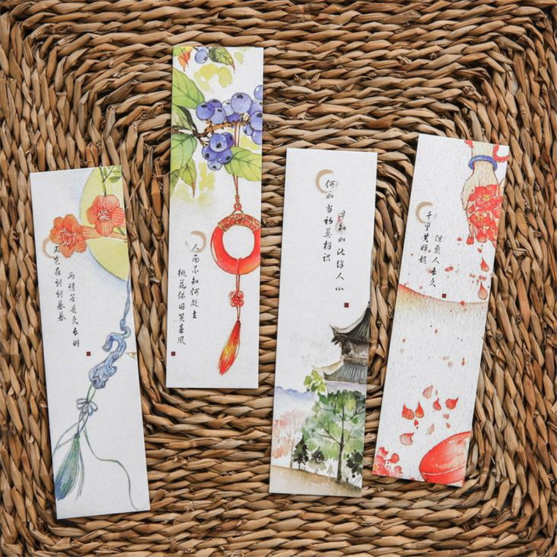 Vintage Chinese Style Ancient Poetry Bookmark Flower Ink Painting Bookmarks School Office Stationery Supplies Gifts 1 Set(30PCs)