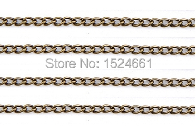 10M Bronze Tone Link-Opened Curb Chain 3x2.2mm *charm connectors component link fitting clasp chain