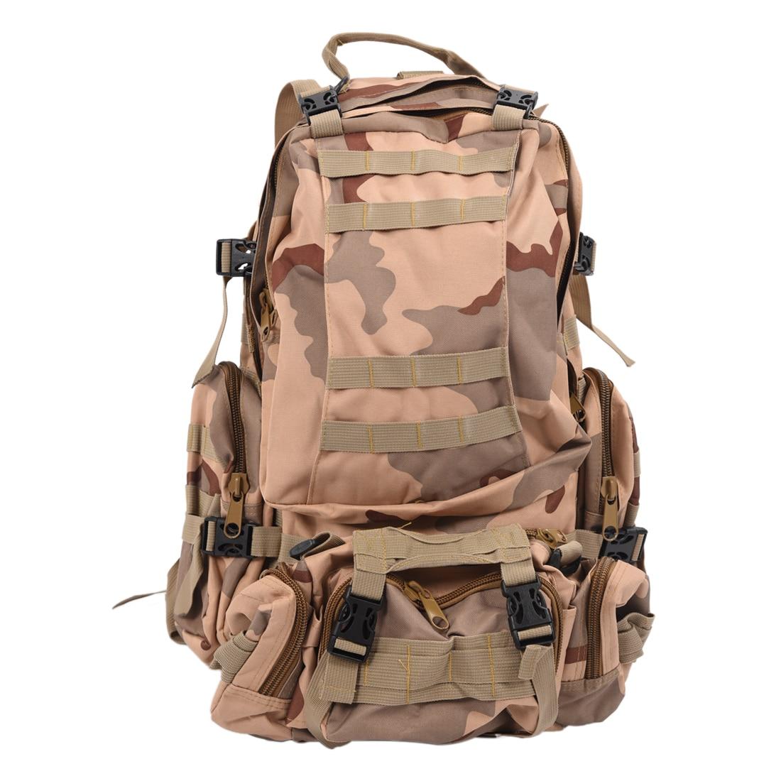 50L Large Capacity Tactical Military Outdoor Rucksacks Backpack Trekking Hiking Bag Three sand camouflage new arrival 38l military tactical backpack 500d molle rucksacks outdoor sport camping trekking bag backpacks cl5 0070