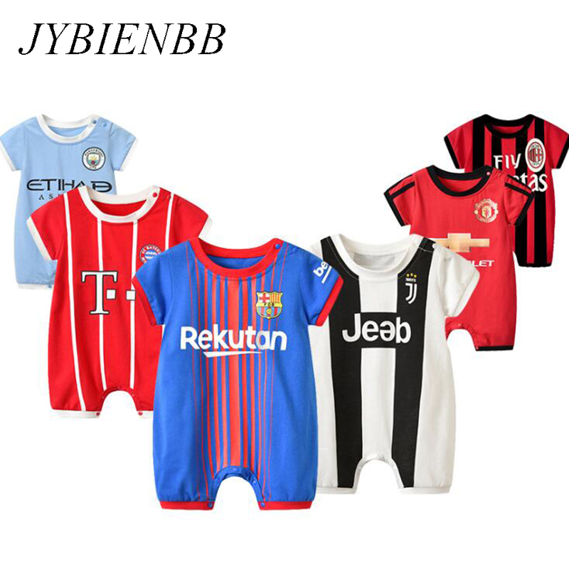 Newborn Bebe Football Barcelona Clothes Suit Infant   Romper   Boys Girls Onesie Garcon Costume Outfit Loose Sport Summer Jumpsuit