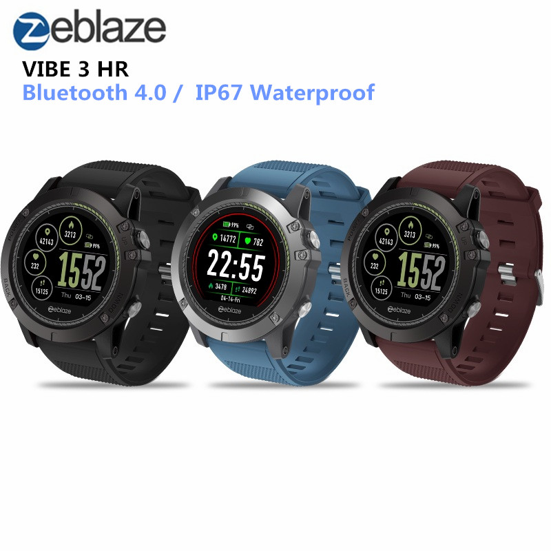 Zeblaze VIBE 3 HR Smartwatch IP67 Waterproof Wearable Device HeartRate Monitor IPS Color Display Smart Watch For Android IOS g6 tactical smartwatch