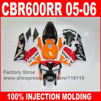 Custom paint 100% Injection motorcycle parts for HONDA 2005 2006 CBR 600RR 05 06 CBR600RR fairings orange repsol fairing kits