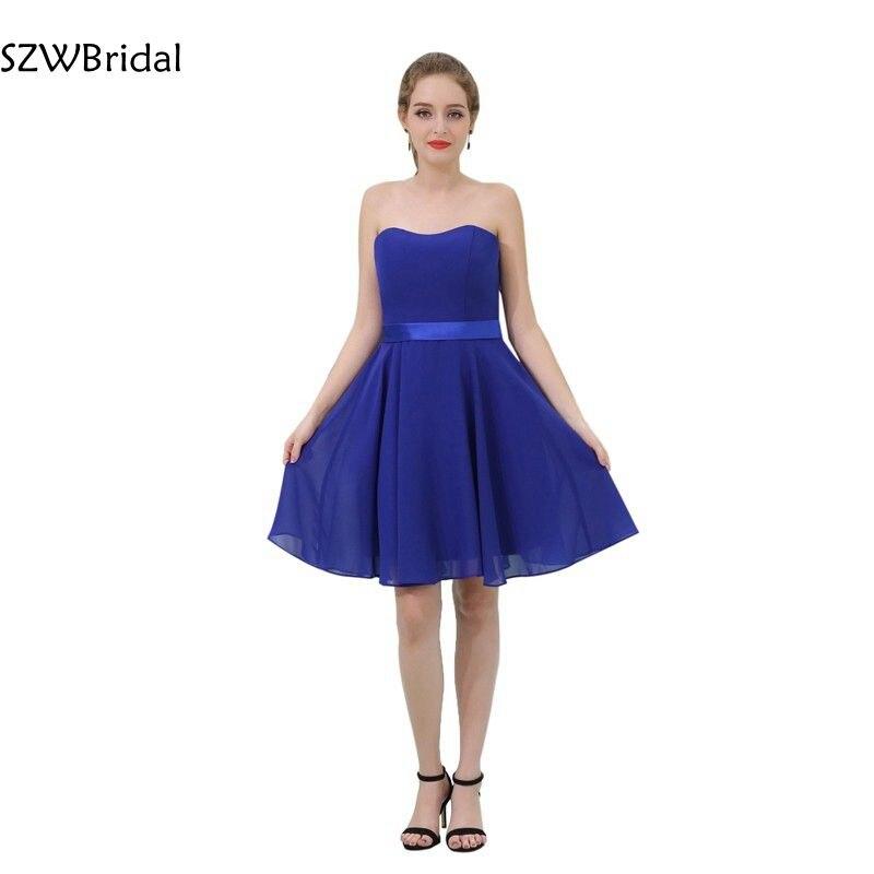 New Arrival Chiffon Royal Blue Cocktail dresses Knee length Vestidos de coctel robe cocktail jurken Cocktail dress