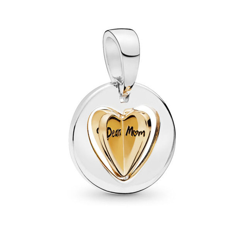 2019 New 925 Sterling Silver Pendant Mom 39 s Golden Heart Dangle Charm Fit Original Pandora Bracelet Bangle Women DIY Jewelry Gift in Charms from Jewelry amp Accessories