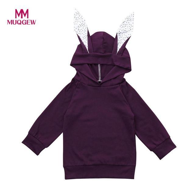 2017 natal Anak Bayi Perempuan Laki-laki Kartun Telinga Hoodie Anak Tops  Kaus Mantel Pakaian 95806bf16a