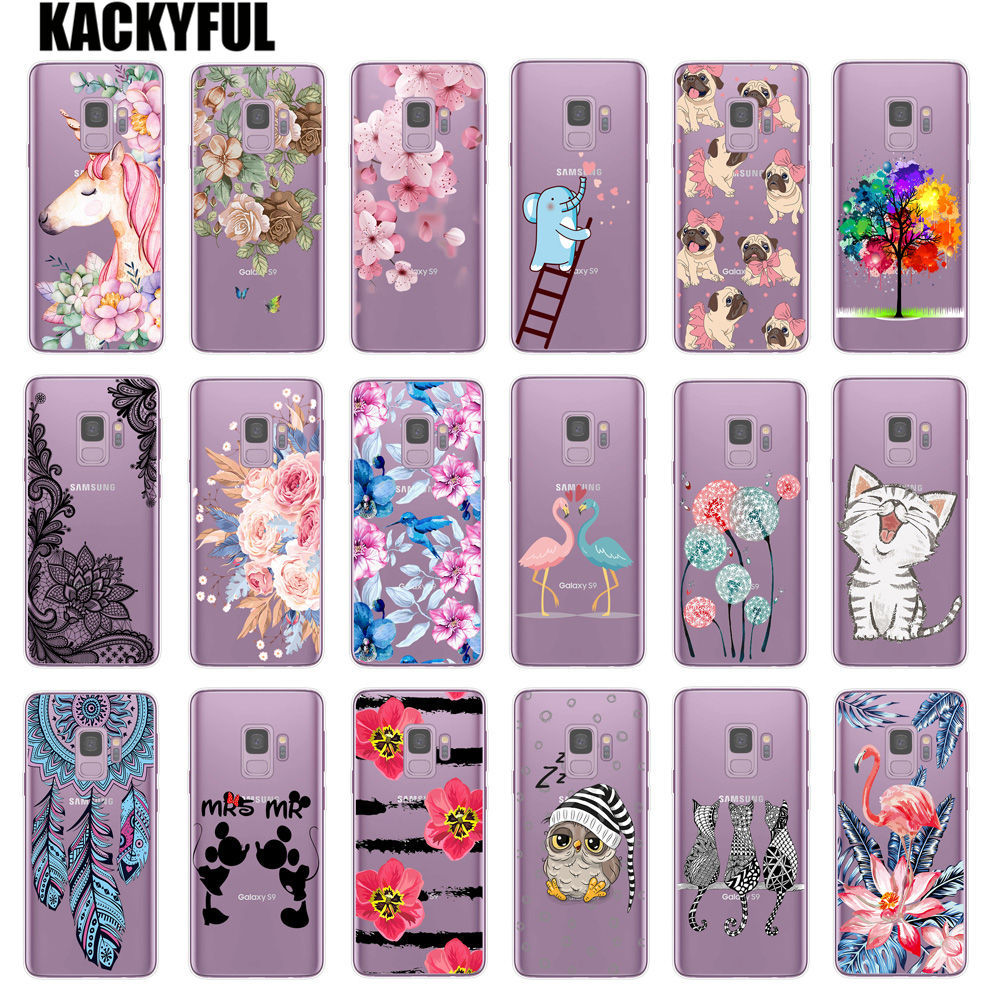 Flower Pattern Case For <font><b>Samsung</b></font> <font><b>Galaxy</b></font> S9 Cases Soft TPU Silicone Case For <font><b>Samsung</b></font> S9 Plus <font><b>Galaxy</b></font> <font><b>S</b></font> <font><b>9</b></font> Phone Cute Cat Back Cover image