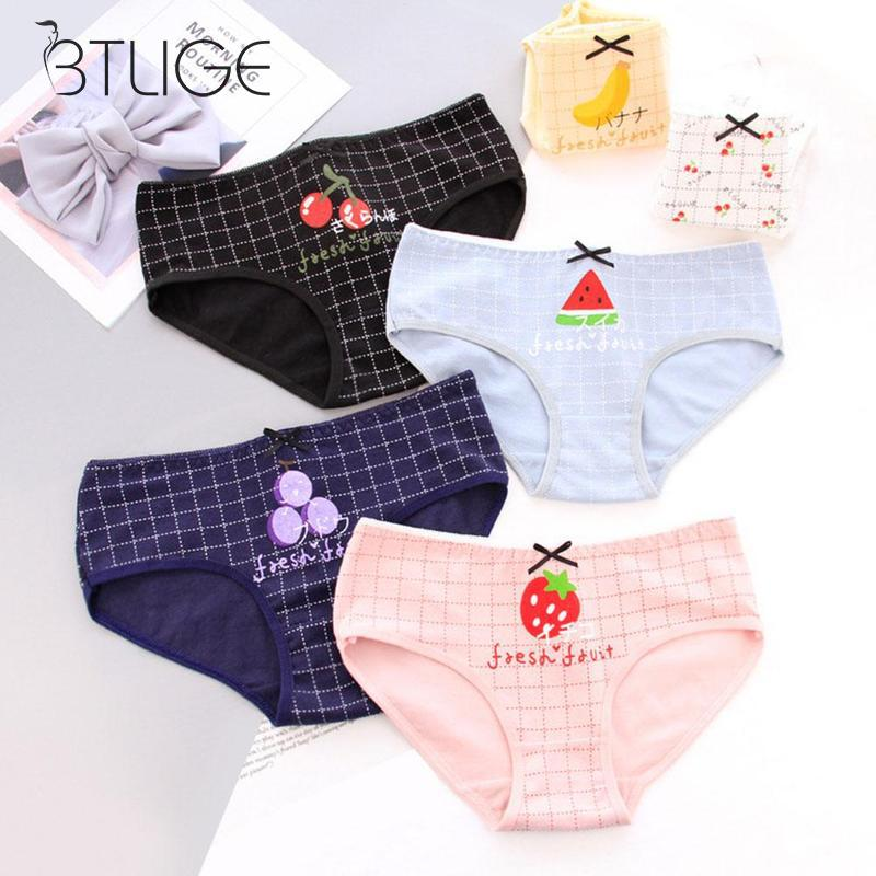 Buy Cute Fruit Printed Women Cotton Underwear Candy Color Cartoon Cute Brief Panties Good Quality Women's Underwear Girls
