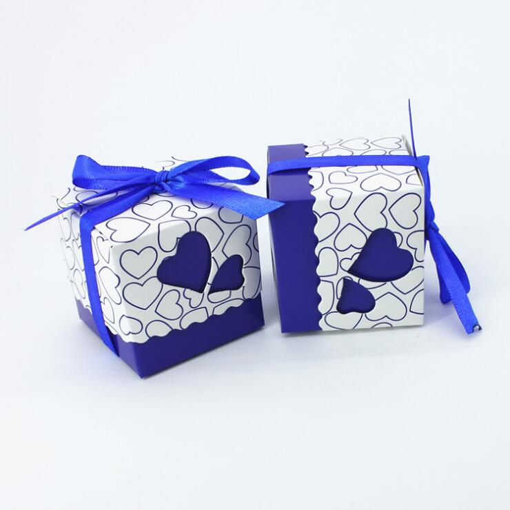 Homemade Wedding Gifts For Guests: 5*5*5cm DIY Heart Candy Box Small Navy Blue Wedding Gifts