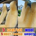 100% whole leather wool car seat cover cushion winter long sheep fur 5 seats covers for 1 set car seat cover cushion keep warm