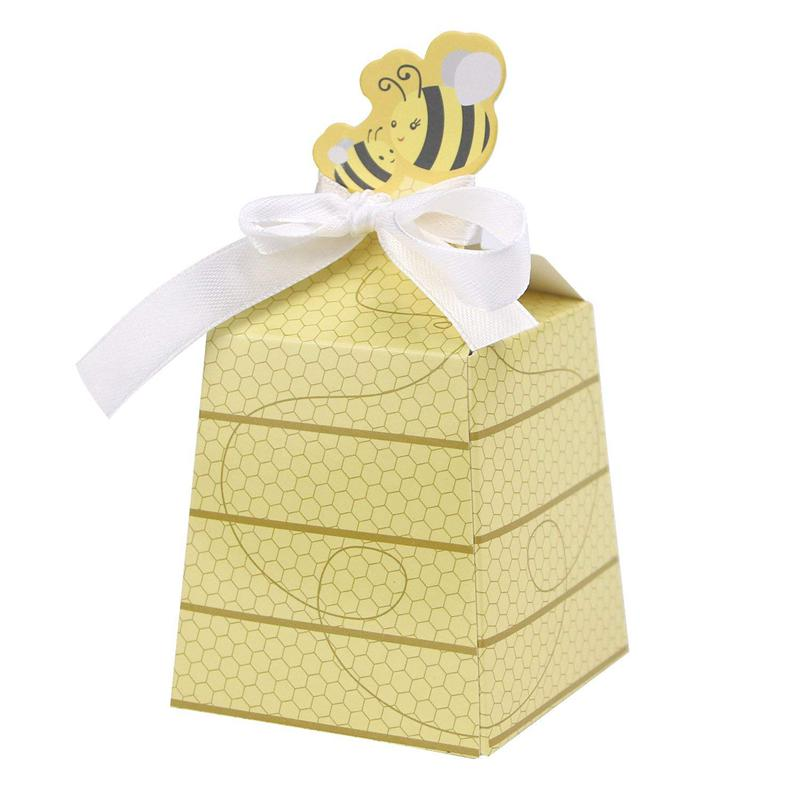 TOP!-50pcs/Lot Cute Baby Shower Favor Cartoon Honey Bee Paper Candy Box Adorable Kids Birthday Party Decor Newborn Baby Gifts