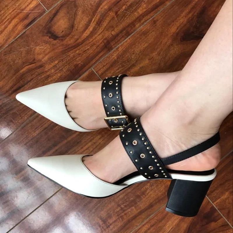 HZXINLIVE 2018 Summer Rivet Women Sandals Genuine Leather Sandals Women Luxury Brand Chunky Heels Ankle Strap