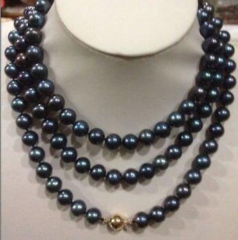 1ac364c66483 Envío Gratis impresionante redondo 10-11mm Tahitian negro verde perla collar  18 pulgadas