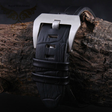 22mm New High Quality Men Black Italy Genuine Leather Watch Band Strap With Silver Brushed Depolyment
