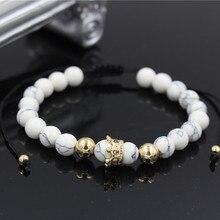 PINIYA Fashion Women Gold Color Micro CZ Crown Charm Bracelet Braiding Macrame Natural White Howlite Stone Bead Jewelry
