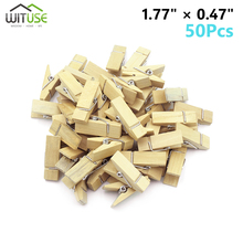 Wholesale Very Small Mine Size 30mm Mini Natural Wooden Clips For Photo Clothespin Craft Decoration Pegs 50 Pcs
