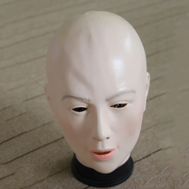 Adult Latex Full Head The Bald Head Woman Masks Costumes Cosplay For Funny Carnival Halloween Scary Party Props Drop Shipping