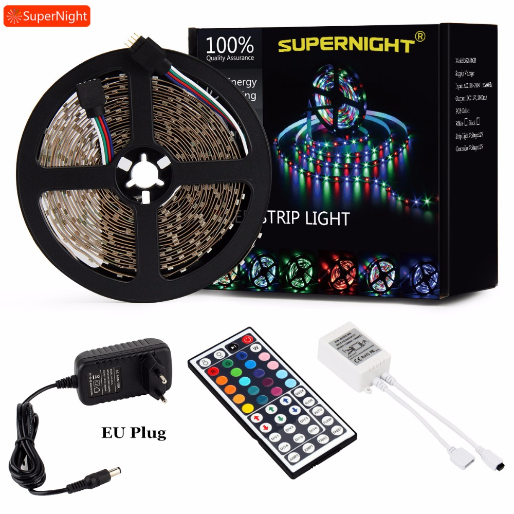 Dream RGB LED Strip Lights Kit SMD 3528 5M 60LEDs/m DC 12V Flexible Lamp Band with 44 Key IR Remote Controller 24W Power Adapter