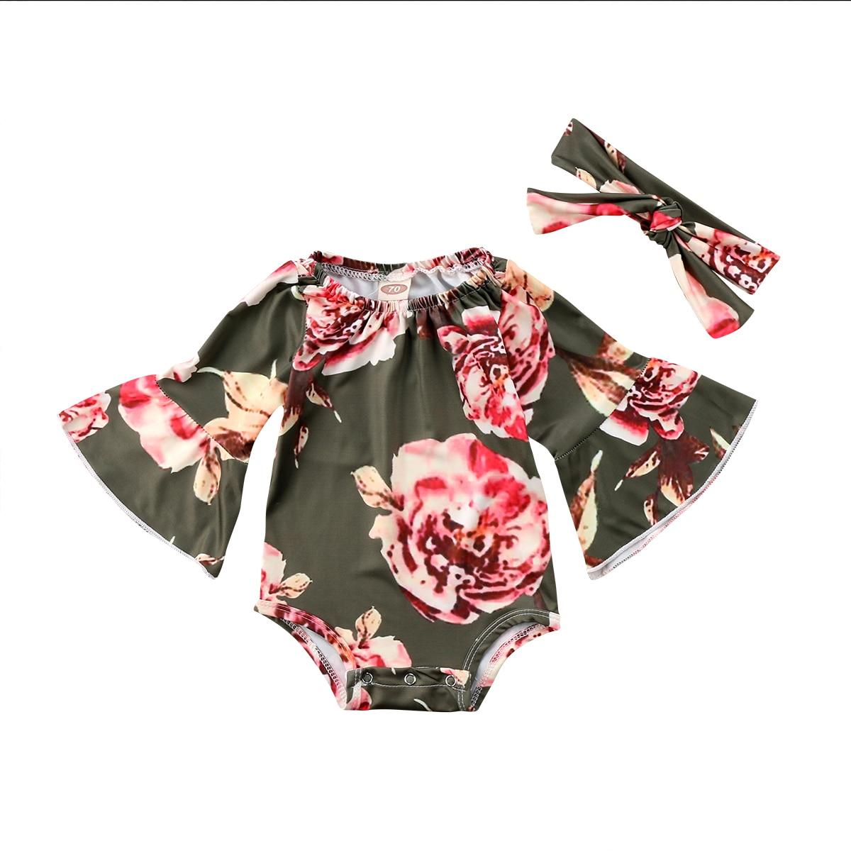 2018 Newborn Infant Baby Girls Clothes Floral Romper Flower