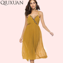 d9f07751058 QIUXUAN Yellow Black Chiffon Rompers Women Jumpsuit Spaghetti Strap V Neck Jumpsuit  Summer With Tassel Holiday Casual Jumpsuit