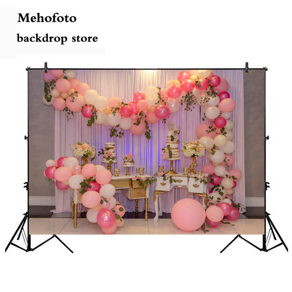 Mehofoto Photography Backdrops Balloons White Curtain Photo Shoot Background Birthday Wedding Party Backdrop Vinyl Cloth 811