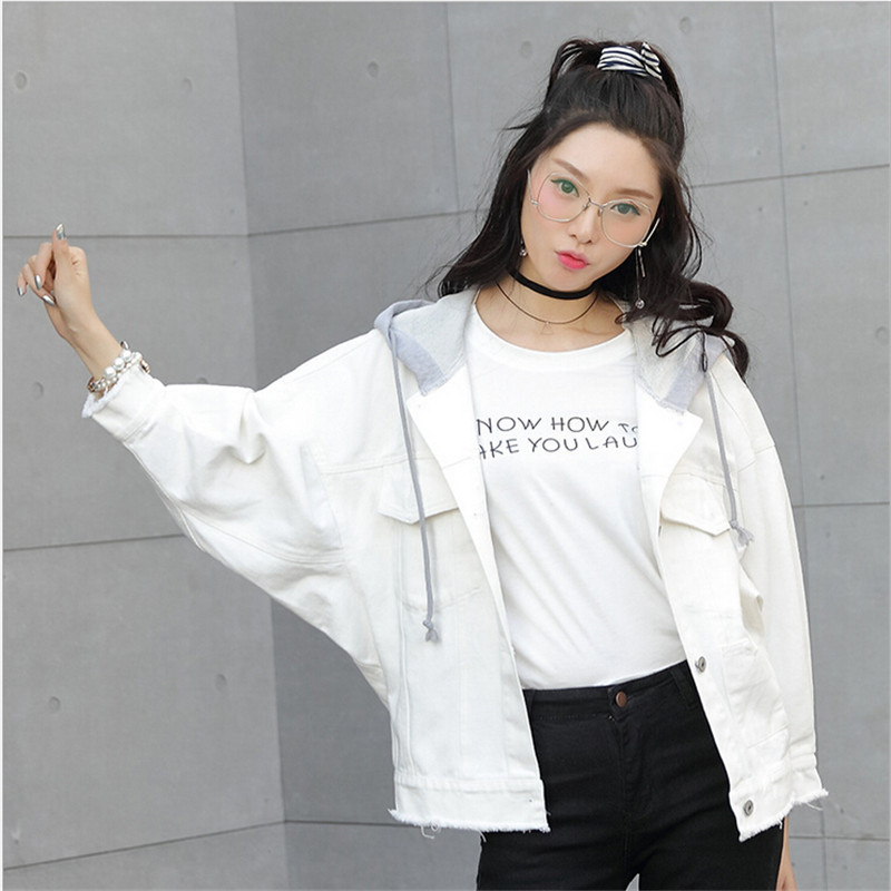 Us 30 58 Women S Jeans Jackets Short Casual Denim Jacket Pocket Cowboy Long Sleeve White Hoodie Jacket Coat For Female Girls In Basic Jackets From