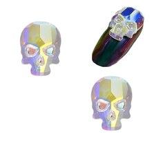 Stones Skull Glass-Flame AB Rectangle Elongated Flat-Shaped Colorful Size Teardrop 10PCS