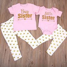 Милые одинаковые комплекты одежды для маленьких девочек, футболка комбинезон, топы+ длинные штаны с принтом, комплект одежды, летний розовый комплект одежды для крупных сестер