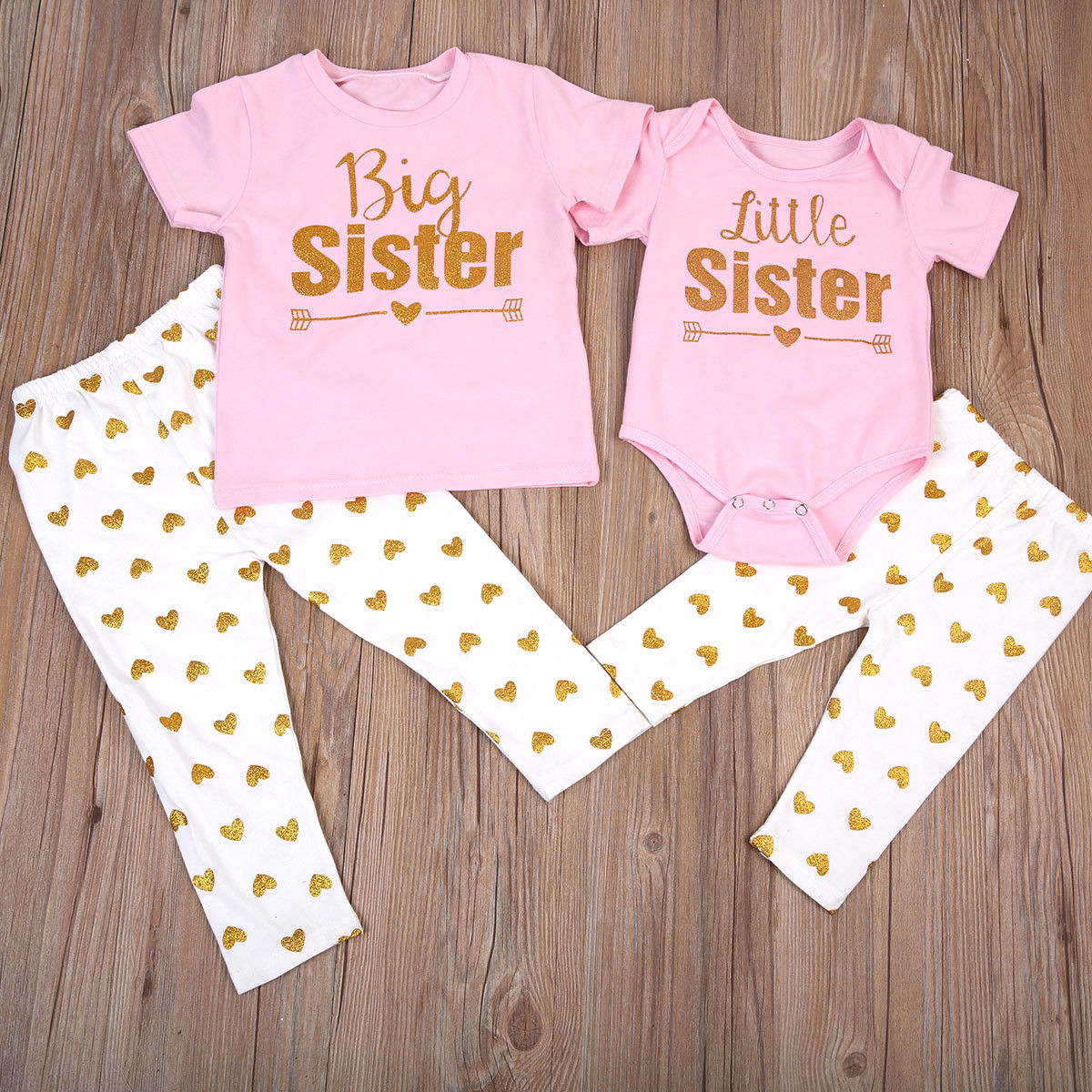 Lovely Baby Kids Girls Matching Outfits T-shirt Romper Tops+Print Long Pants Outfits Clothes Set Summer Pink Littler Big Sister
