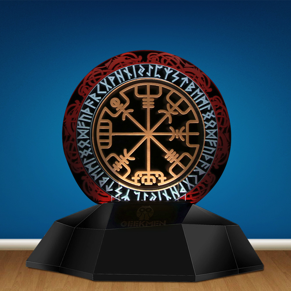 Norse Viking Symbol 3D Line Lamp Compass Viking Runes Designed Lamp 3D Optical Illusion Lamp Decor Magical Stave Table Lamp