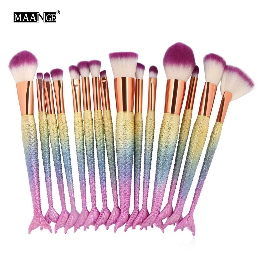MAANGE 15PCS Eye Shadow Makeup Brushes Set Eyeliner Eyebrow Eyeshadow Lip Fan Powder Makeup Brush Mermaid Color Cosmetics Tool miss gorgeous makeup brushes set powder foundation steel eyelashes comb combination brush eye shadow eyelash eyeliner eyebrow