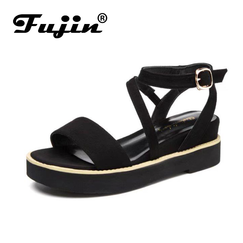 Fujin Summer Sandals Shoes Footwear High-Heel Thick Women Brand Platform with Lady
