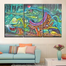 Wall Spray Paint Artistic Painting Modular Style 3 Pcs Set Canvas HD Print Crocodile Animal Poster For Kids Room Decorative