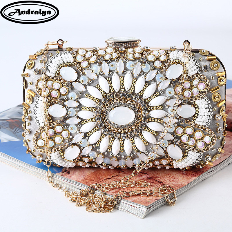 Andralyn High-grade Dinner Bag Handmade Beaded Evening Bag Retro Party Hand Bag Women Wedding Clutch Bag