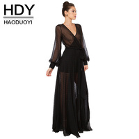 HDY Summer Dress Lace Sheer Sexy Elegant Party Dresses Long Maxi Black Long Sleevs Sexy Dress