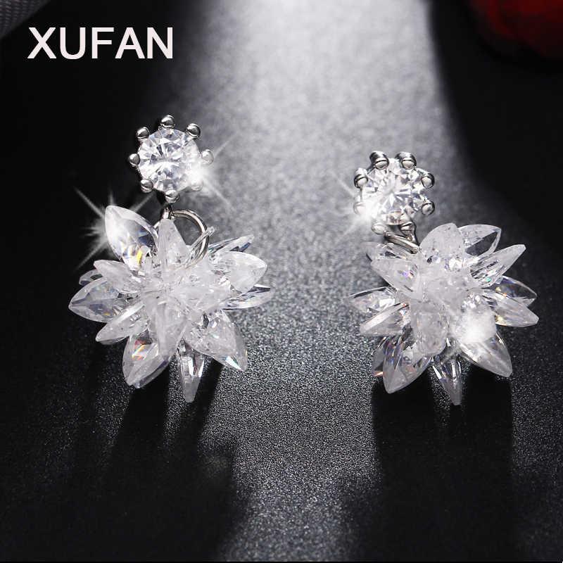 44eb6f822 3 Style Fashion Snow Ice Flower CZ Zircon Crystal Stud Earrings for Women  long tassel earrings