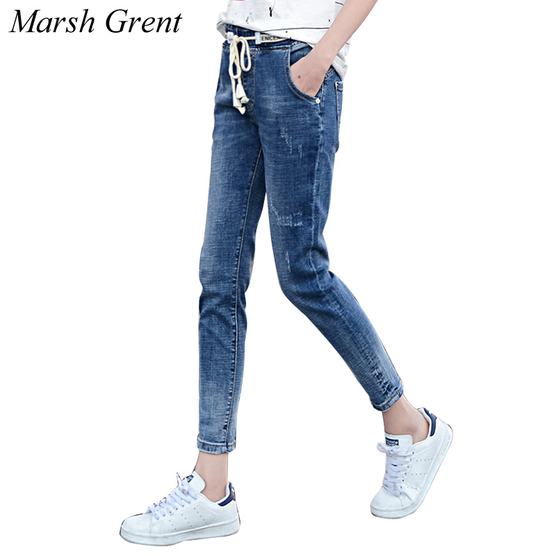 Women Spring Autumn Pants Casual Trousers For Ladies Blue Ripped Mid Waist Drawstring Skinny Denim Plus Size Jeans Blue plus size pants the spring new jeans pants suspenders ladies denim trousers elastic braces bib overalls for women dungarees