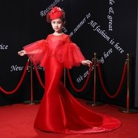 2018 New Royal Flower Girl Dresses Flare Sleeve Gown Kids Wedding Party Dresses Luxury Red Princess Gown Children Formal Costume